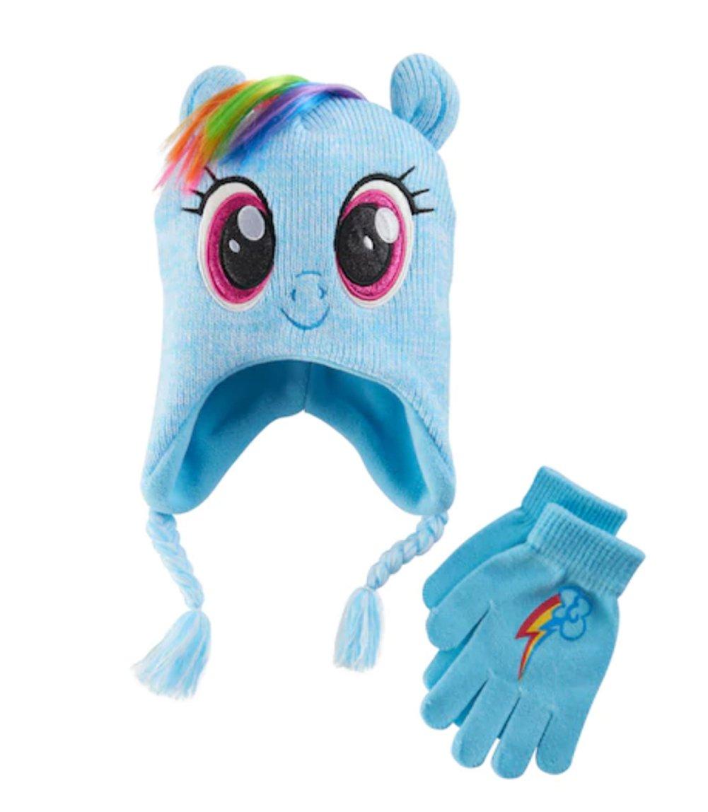 My Little Pony Rainbow Dash Girls Winter Beanie Hat and Gloves Set