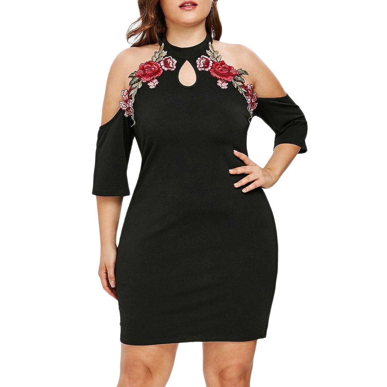 2ad0450cb0ea Top5: Women Flower Embroidery Applique Dress Plus Size Keyhole Strapless  Cold Shoulder Casual Summer Mini Dresses