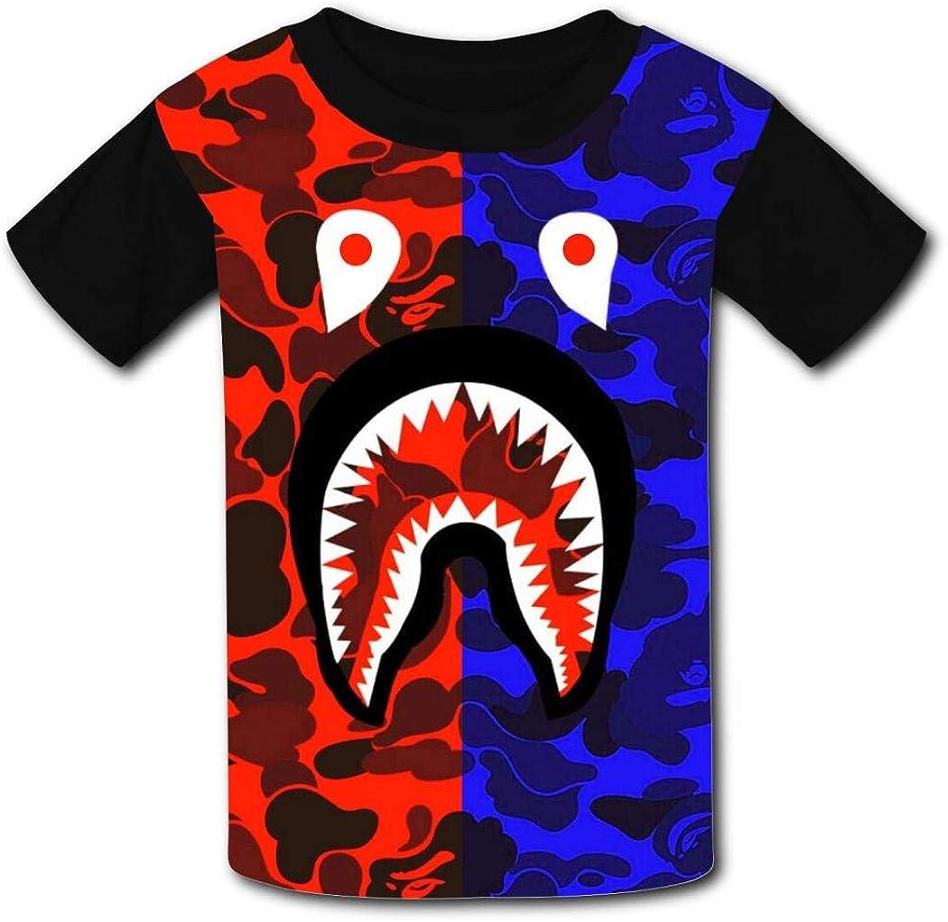 VIPODER Youth Bape Shark Teeth Green Camo T-Shirt 3D Print O-Neck Kids Tee