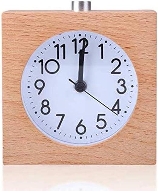 MZW Reloj Despertador Cuadrado de Madera sin tictac Snooze ...