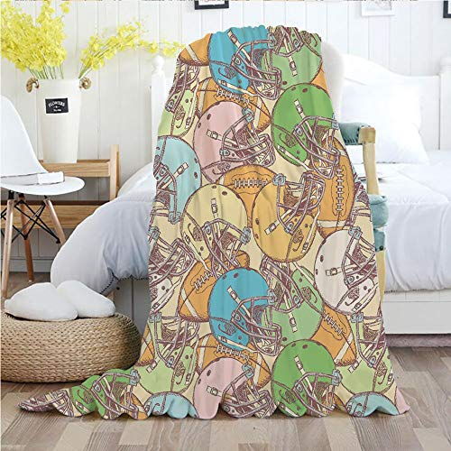 - Football,Throw Blankets,Flannel Plush Velvety Super Soft Cozy Warm with/Pile of Helmets and Rugby Balls Sports Fun Game Equipment Vintage Art Decorative/Printed Pattern(50