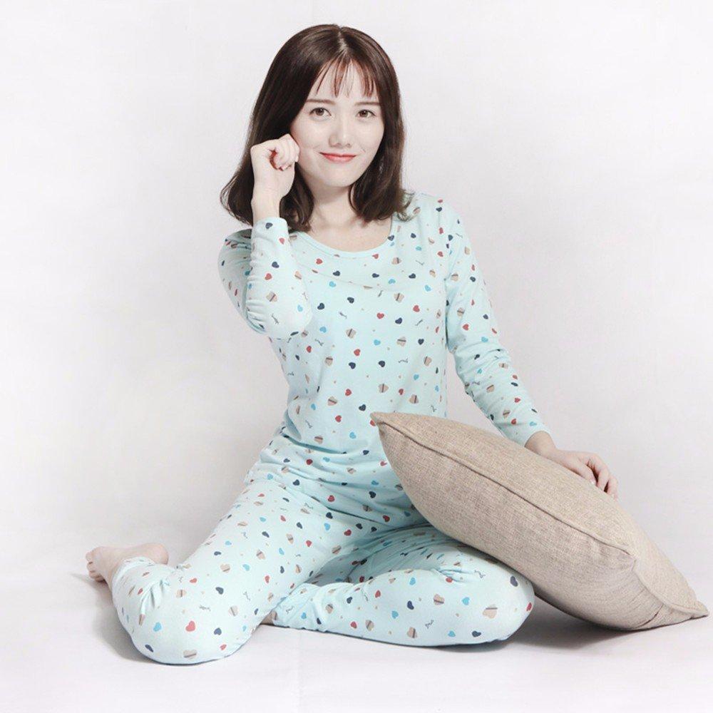 df349da9b33b Amazon.com: LVLIDAN Thermal Underwear winter feminine cotton thin blue XXL:  Sports & Outdoors