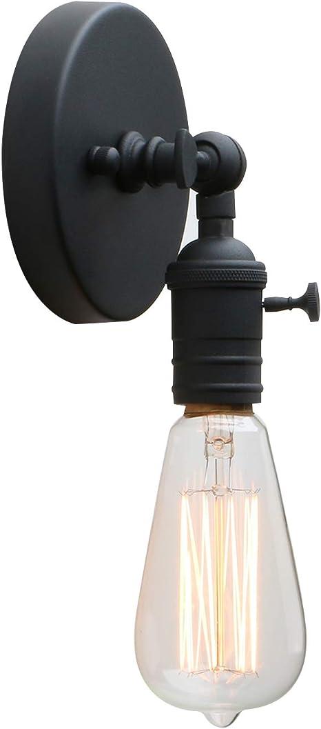 Permo Minimalist Single Socket 1 Light Wall Sconce Lighting With On Off Switch Black Amazon Com