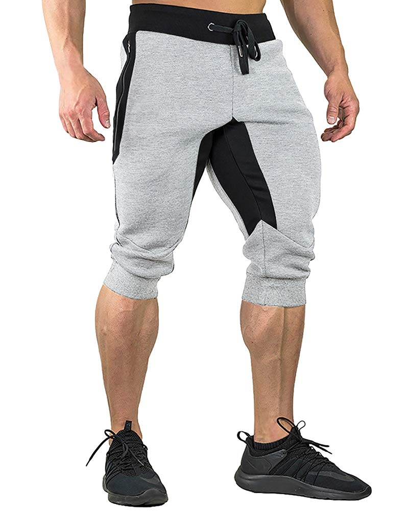 FASKUNOIE Workout Pants for Men Gym Athletic Capri Short Pants with Zipper Pockets Thermal by FASKUNOIE