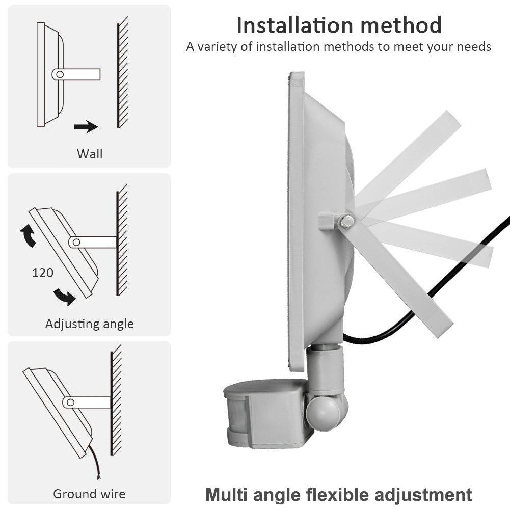 1X 100W Blanco fršªo IP65 reflector impermeable SMD con la luz de inundacišn del sensor de movimiento PIR de Seguridad de la lšmpara LED brillante luz al ...