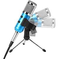 Tonor professionell Kondensator-Mikrofon mit 3.5mm Plug+Stativ+Windschutz Schaumhülle Schall Podcast Studio Aufnahme Microphone für PC Laptop Computer Blau