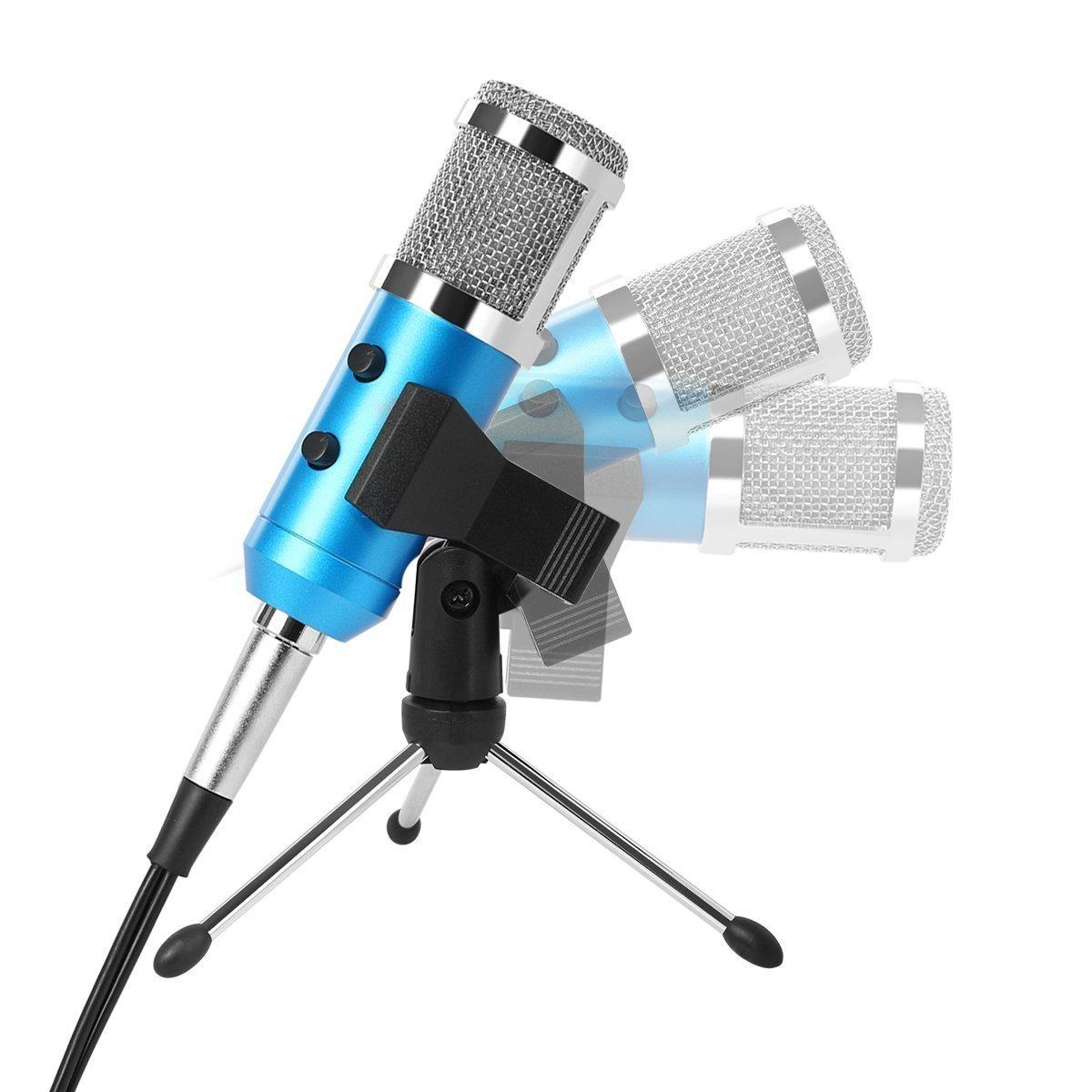 Tonor 3, 5 mm Studio enregistrement Microphone à Condensateur avec Trépied Debout Chapeau de Mousse de Pare-Vent Adaptateur Audio TN120439BU