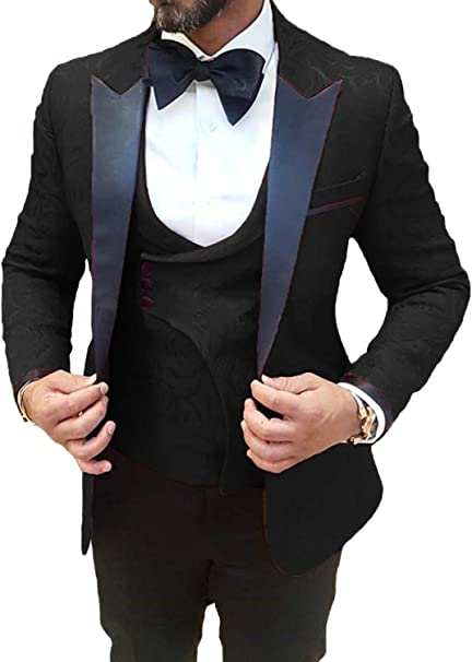 DGMJ Mens Wedding Suit Prom Tuxedo Slim Fit 3 Piece Groom Formal Wear  Blazer for Party XZ069