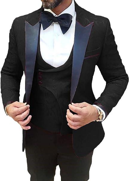 DGMJ Mens Wedding Suit Prom Tuxedo Slim Fit 3 Piece Groom Formal Wear  Blazer for Party XZ069