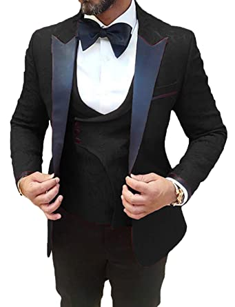 268414198ab4 Black Men Wedding Suits Slim Fit 3 Piece Designer Stylish Tuxedo for Groom