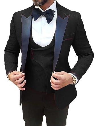 01078b8927092f Black Men Wedding Suits Slim Fit 3 Piece Designer Stylish Tuxedo for Groom