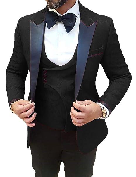 0881cd4aec265 DGMJ Mens Wedding Suit Prom Tuxedo Slim Fit 3 Piece Groom Formal ...