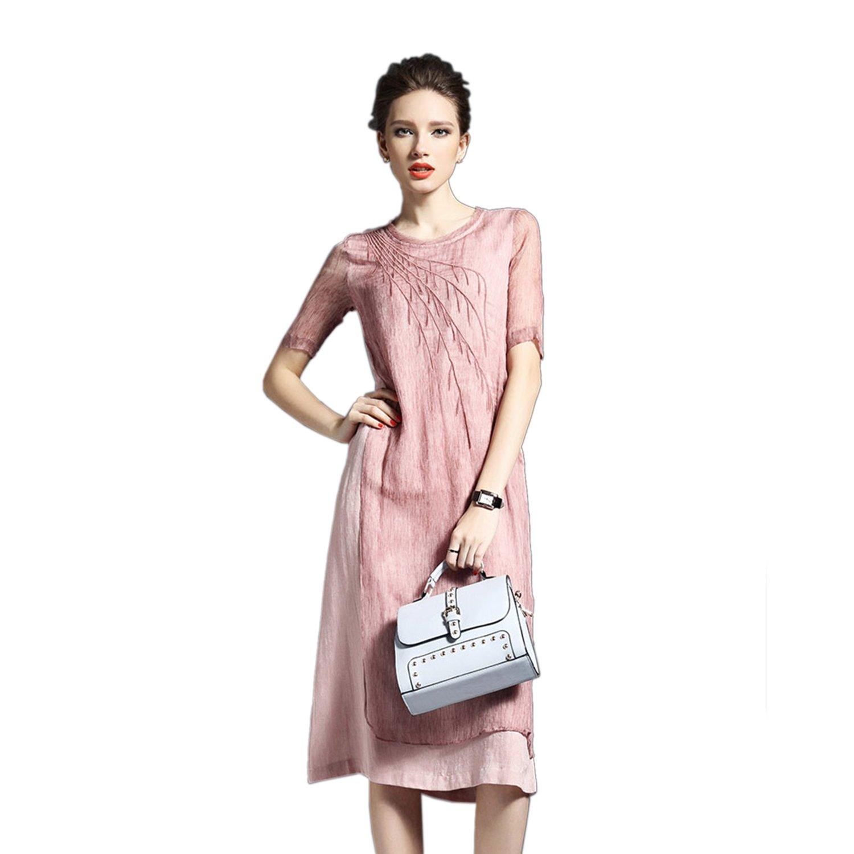 Homedecoam Damen Fashion Leinenkleid A Linie Kurzarm aus Seide und ...