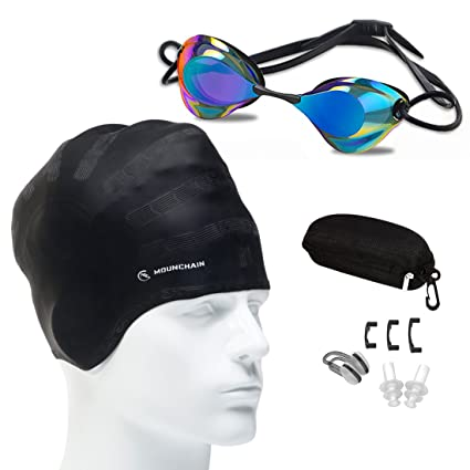 a76544e376 LinTimes Unisex Adult Swim with Ear-Pocket Silicone Swim Cap