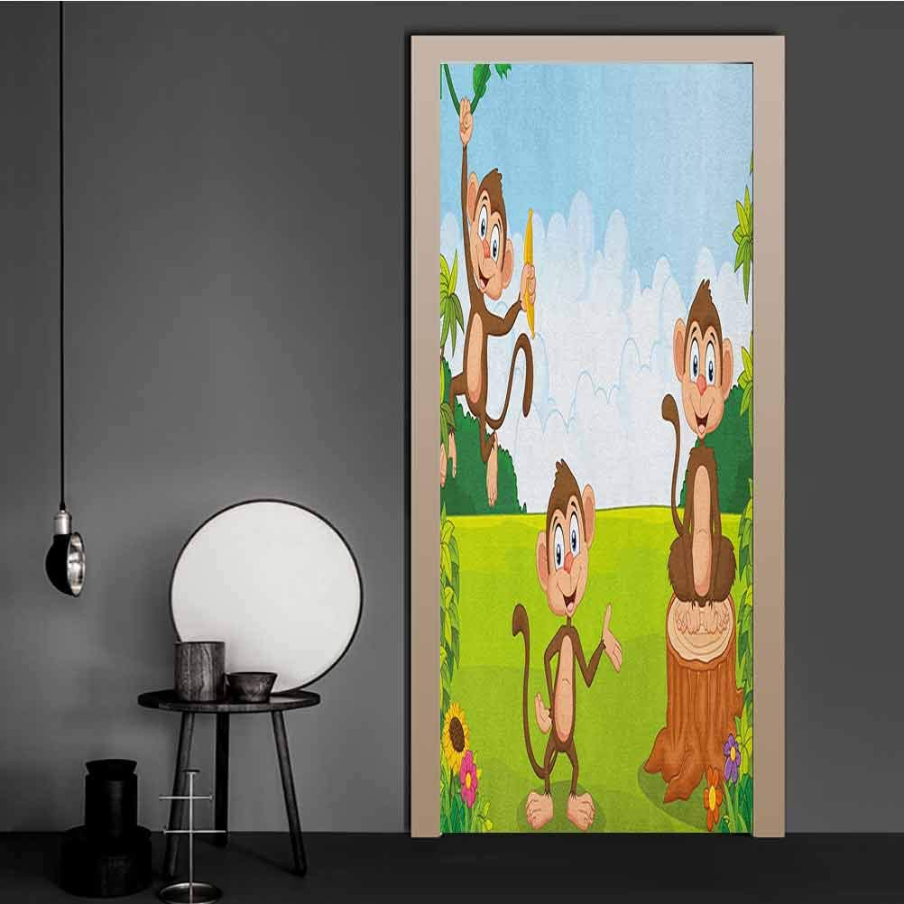 Nursery Wall Decal Stickers Three Monkeys Playing in a Tropical Forest Banana Africa Safari Nature PVC Mural Wall Sticker Pale Blue Brown Green for Home Decor Art | 23.6