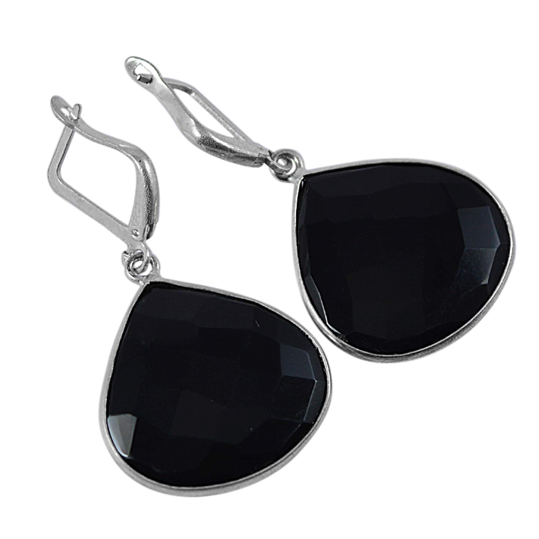 Saamarth Impex Black Onyx Gemstone 925 Silver Plated Dangle Earring PG-128800