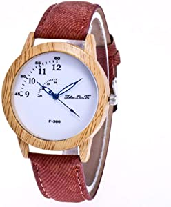 Students Watch, Wrist Watch with Bright Colors Watchband and Casual Wooden Dial for Unisex