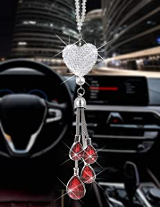 Heart Car accessories for men and women, cute Bling car decoration accessories, Lucky Hanging Interior Ornament Pendant Sun Catch Car Rear View Mirror Charms Decor (Red)