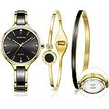 MAMONA Custom Engraved Watch Set for Women Personalized Gift Women's Watch Ideas Anniversary Gift Set Perfect Match Ultra Thin Dress Watch Ceramic L3877GTC