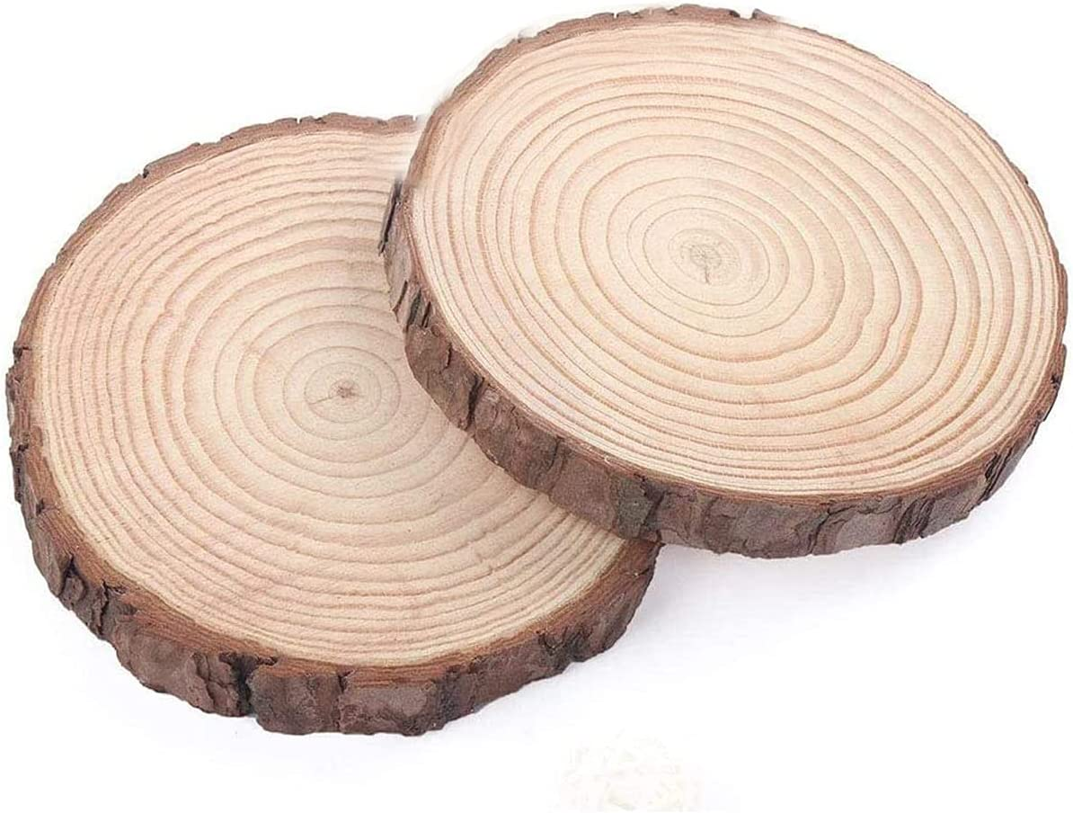 TOPYUN Large Natural Wood Slices Round Rustic Slabs Unfinished Wood 8-8.7 Inch 4pcs for Crafts Cake Stand,Wood Stump,Tree Stump Decor,Wooden Rounds,Wood Cookies