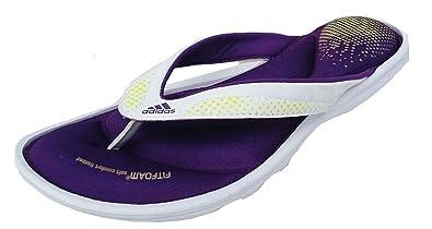 58ec0a8ceb8c Adidas Womens Fit foam 2.0 Thong toe post slide Sandal White purple D66570  UK 6