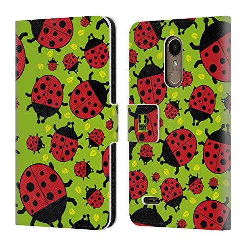Head Case Designs Green Ladybug Bugged Life Leather Book Wallet Case Cover for LG K10 / K11 / K11 Plus (2018)