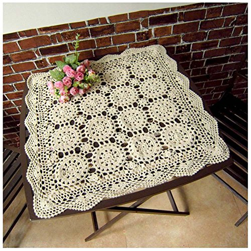 Orange Elegance Square Tablecloth (WCHUANG Crochet Cotton Square Tablemat Table Cloth Doily Tablecloths, Beige)