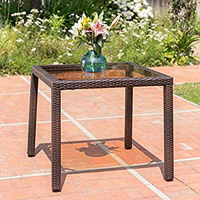 San Tropez | Wicker Outdoor Dining Table with Tempered Glass Top | Perfect For Patio | in Multibrown - This elegant Table is ideal for intimate outdoor Dining Manufactured in China Assembly required but completely worth it - patio-tables, patio-furniture, patio - 61g%2B%2BAuzQEL. SS400  -