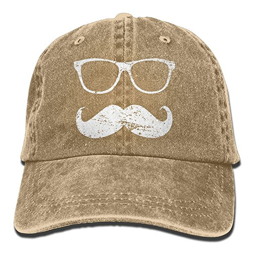 E-Isabel Incognito - Funny Mustache and Sunglasses Adjustable Leisure Cotton Washed Denim Caps Hats - Polo Jeans Sunglasses