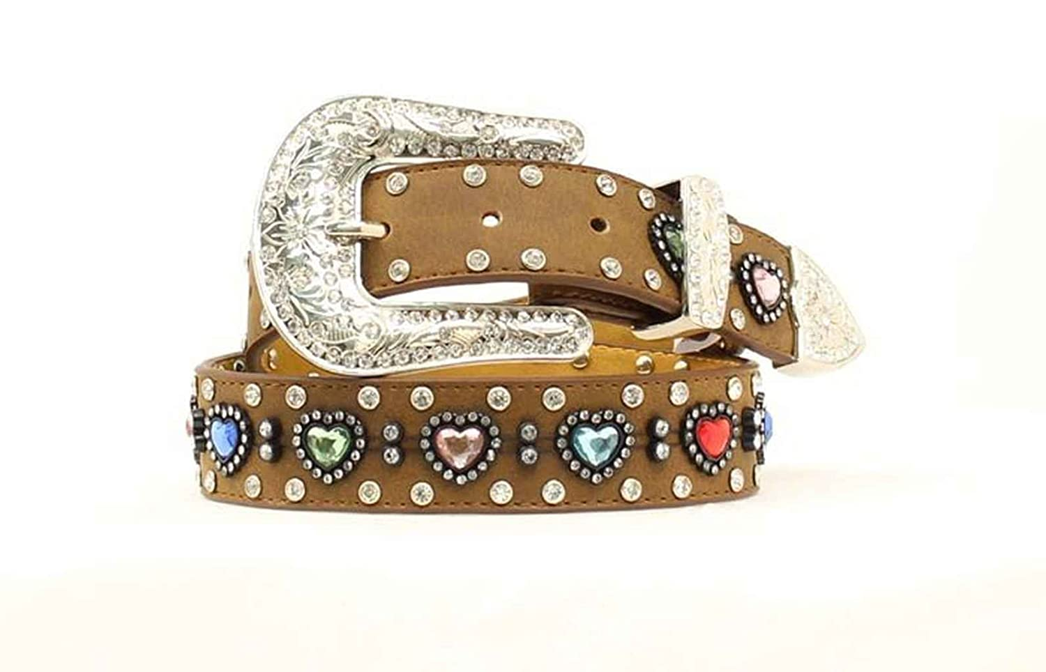 Nocona Girl's Multi Color Heart Conchos Belt Medium Brown Distressed 18 N44268-44