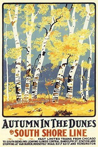 Autumn Dune Park vintage South Shore Line poster repro 24x36