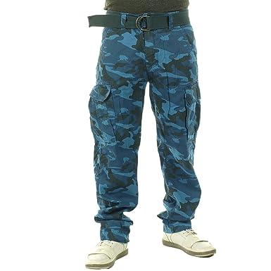 OTB - Men Cargo Slim Straight Fit Blue Camouflage Pants at Amazon ... e0b4c392c0c
