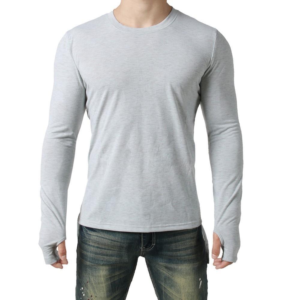 Camisa de hombre,zarupeng Camisa de manga larga para hombre con guantes Blusa superior sólida