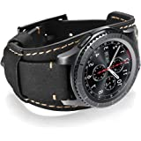 Coobes Compatible with Samsung Galaxy Watch 46mm/Gear S3 Frontier/Classic Bands, 22mm Genuine Leather Cuff Bracelet Strap with Stainless Steel Buckle for Men Women (Black)