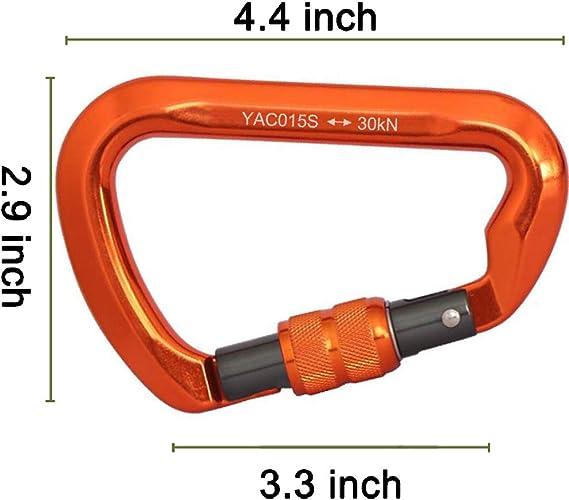 randonn/ée snaket Mousqueton Mousqueton en Forme de S avec Double Verrouillage//Verrouillage /à vis Mousqueton /à vis Robuste pour Escalade Camping