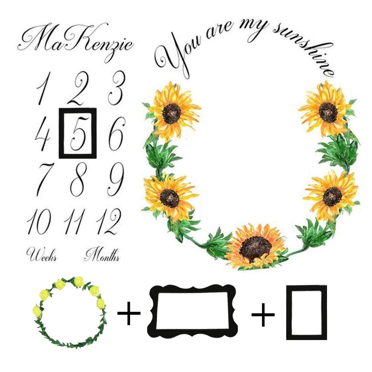 Baby Monthly Milestone Blanket Photo Props Shoots Backdrop Personalized Sunflower Sun You are My Sunshine Photography Growing Infants Toddlers Swaddle Blanket for Newborn Girls and Boys
