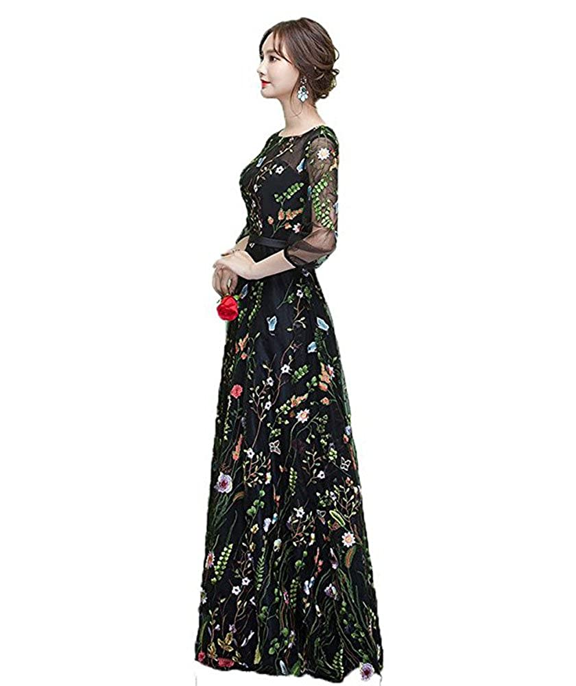 WDH Dress Black Embroidered Prom Dress 3/4 Sleeves Flora Evening Dress 16: Amazon.co.uk: Clothing