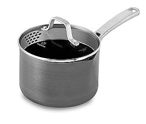 Calphalon Classic Nonstick Sauce Pan with Cover, 2.5-Quart, Grey