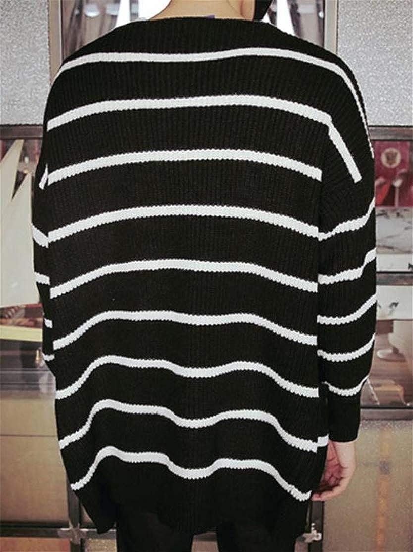 Joe Wenko Men Stripe Knitted Loose Overcoat Sweaters Long Sleeve Stylish Leisure Cardigans
