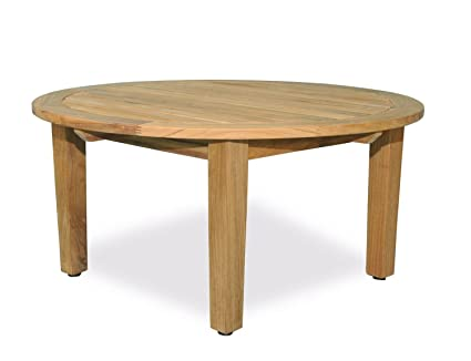 Gentil Eco Friendly Furnishings 36u0026quot; Natural Teak Round Outdoor Patio Wooden  Coffee Table