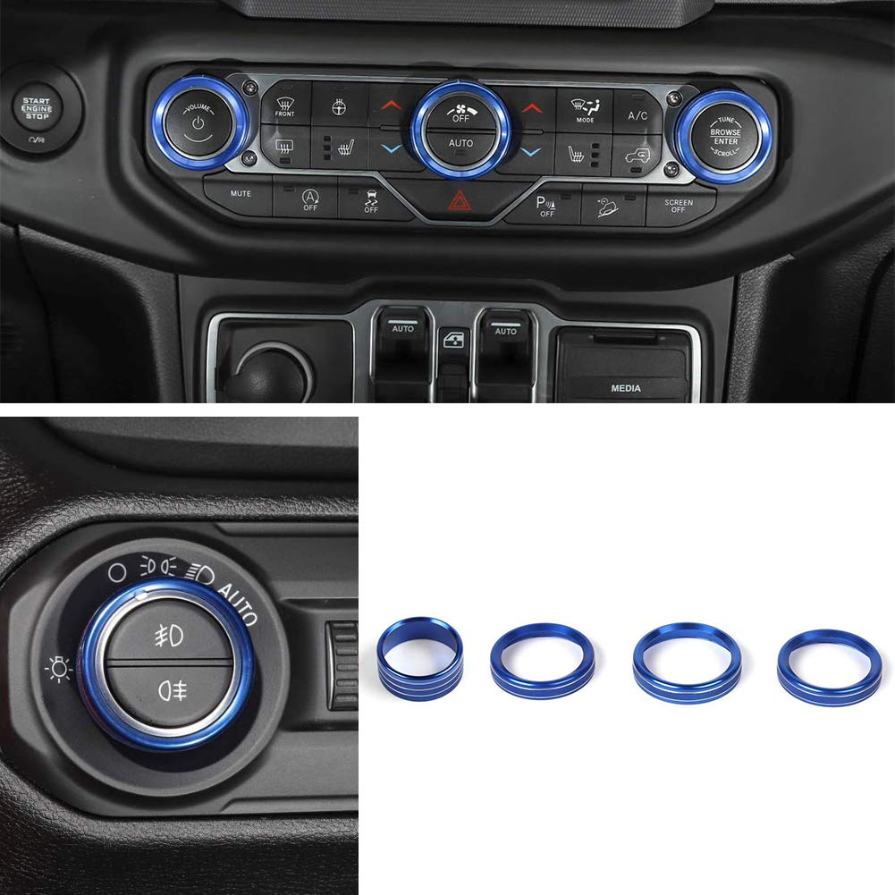 HGCAR Aluminum Alloy Car Headlight Switch Knob Button Decoration Cover Ring Trim Interior Accessories for Jeep Wrangler JL 2018 Up (Blue) homegarden2018