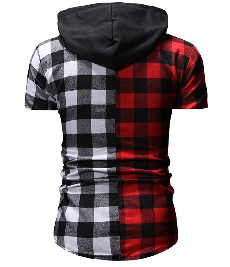 Rrive Mens Casual Short Sleeve Hooded Color Block Checked Button Up Shirts
