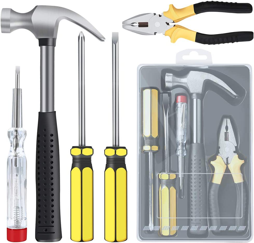 E·Durable Homeowner Tool Set with Case 5 Pieces Tool Set - General Hand Tool Kit Durable Long Lasting Home Repair Hand Tool Kit for DIY, Home Repair and Maintance