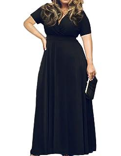 64c755dcac85 HWOKEFEIYU Women Short Sleeve Loose Plain Casual Plus Size Long Maxi Dress