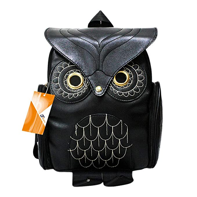 GinTai Women Girls Pu Leather Owl Cartoon Backpack Fashion Casual Satchel Small Backpack, Black
