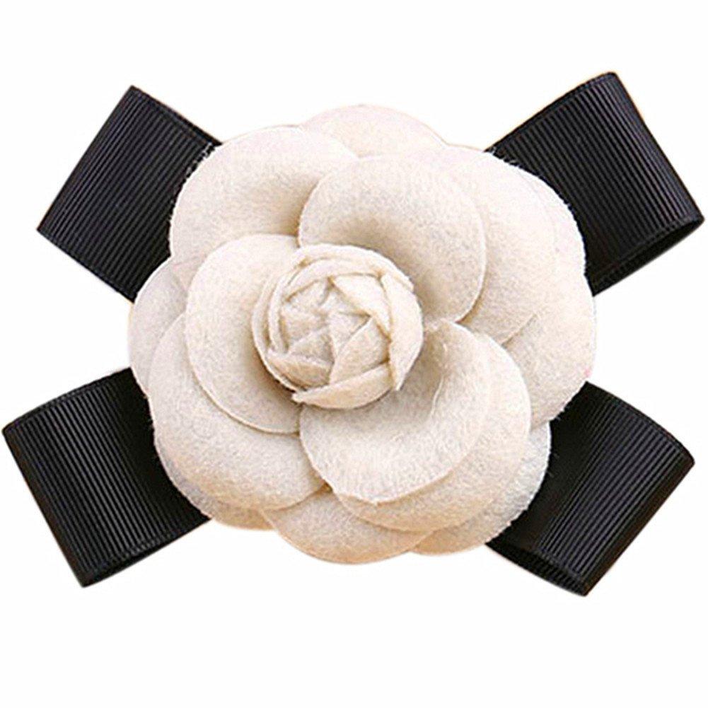 80Hou Elegant Wool Camellia Flower Brooch Vintage Bow Floral Pin Women Wedding Party Gift-Beige