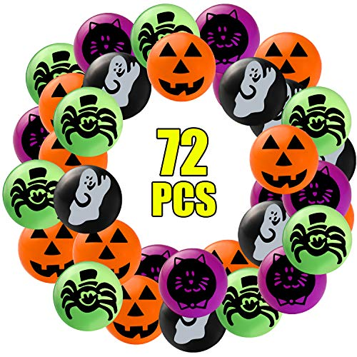 Halloween Trick Or Treat Ideas For Adults (Sizonjoy Pack of 72 Assorted Bouncy Balls for Halloween Party Favors,Halloween Bouncing Toys-Perfect Trick or Treat Bags for)