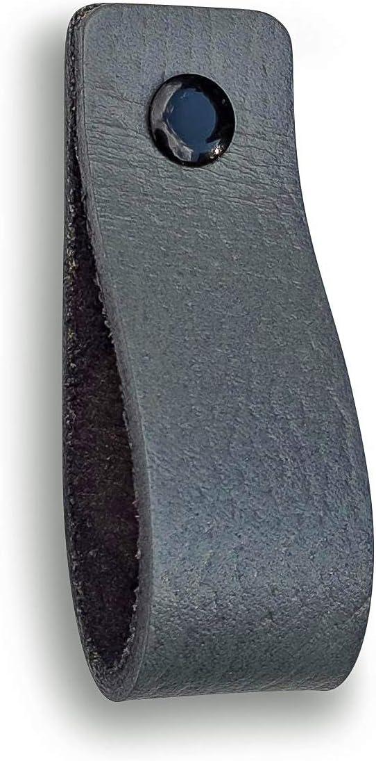 tiradores para Accesorio de Mobilario Piel de Granos 3 tornillos de color Tiradores de Cuero armario 16,5 x 2,5 cm Gris // 4 piezas puerta caj/ón