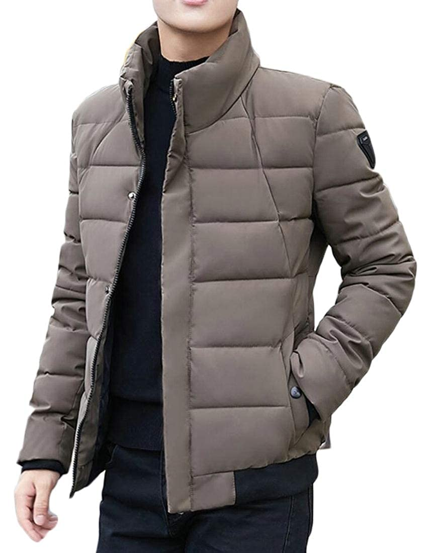 WSPLYSPJY Mens Warm Stand Collar Winter Quilted Zipper Slim Thick Down Jacket Coat