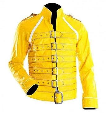 e9e4474f8 Amazon.com: ZH Retail Co Freddie Mercury Men Yellow Biker Faux ...